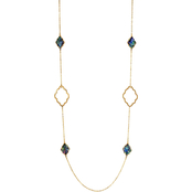Carol Dauplaise Goldtone Faux Abalone Long Station Necklace