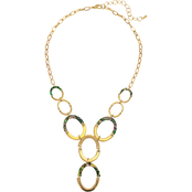 Carol Dauplaise Goldtone Green Multi Acetate Link Y Necklace