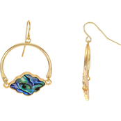 Carol Dauplaise Goldtone Faux Abalone Half Hoop Earrings
