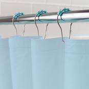 Kenney Medium Weight PEVA Shower Curtain Liner and Beaded Roller Ring Set