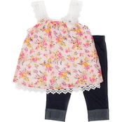Little Lass Toddler Girls 2 pc. Floral Print Chiffon Skimmer Set