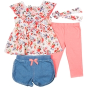 Little Lass Toddler Girls Printed Floral Chiffon with Disco Dots Capris 3 pc. Set