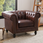 Abbyson Grand Chesterfield Leather Armchair