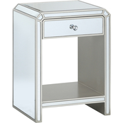Coast to Coast Accents Mirrored 1 Drawer Chairside Table