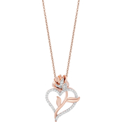 Disney Enchanted 14K Rose Gold Over Sterling Silver 1/4 CTW Diamond Belle Pendant