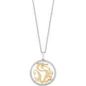 Disney Enchanted 14K Yellow Gold Over Silver Mulan 18 in. Pendant