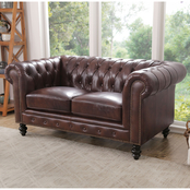 Abbyson Grand Chesterfield Leather Loveseat