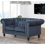 Abbyson Grand Chesterfield Velvet Loveseat