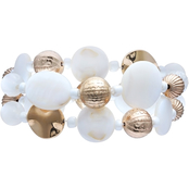 jules b White Shell 2 Row Stretch Bracelet