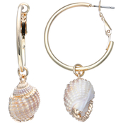 jules b Conch Shell Drop Hoop Earrings