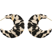 Panacea Leopard Fabric Post Hoop Earrings