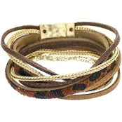 Panacea Leopard Leather and Chain Magnetic Wrap Bracelet