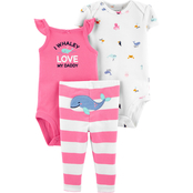 Carter's Infant Girls 3 pc. Whale Bodysuit and Pant Set
