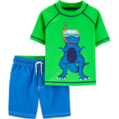 Carter's Toddler Boys Dinosaur Rashguard Shirt and Shorts 2 pc. Set