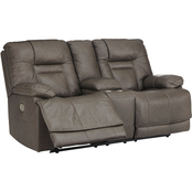 Wurstrow Power Reclining Loveseat w Console and Adjustable Headrest