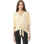 Michael Kors Striped Button Front Tie Top