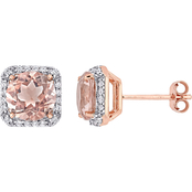 Cubic Zirconia and Simulated Morganite Stud Earrings