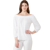 Michael Kors Eyelet Off the Shoulder Smocked Neck Top