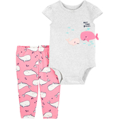 Carter's Infant Girls 2 pc. Whale Bodysuit and Pants Set
