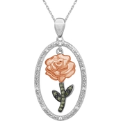 She Shines 14K Gold Over Sterling Silver 1/10 CTW Diamond Dangling Rose Pendant