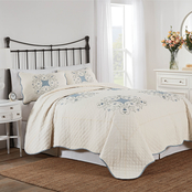 Nostalgia Home Melanie White and Blue Quilt Set