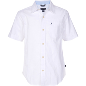 Nautica Kids Boys Finn Solid Slub Woven Shirt, White