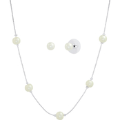 Cherish White Faux Pearl Tincup Necklace and 6mm Stud Pearl Earring Set