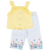 Little Lass Toddler Girls 2 pc. Floral and Butterfly Print Culotte Set