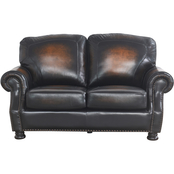Abbyson Saticoy Hand Rubbed Leather Loveseat