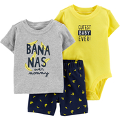 Carter's Infant Boys Banana Tee, Bodysuit and Shorts 3 pc. Set