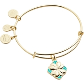 Alex and Ani Color Infusion Four Leaf Clover Expandable Wire Bangle Bracelet