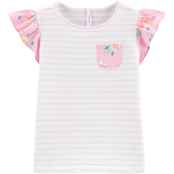 OshKosh B'gosh Toddler Girls Ruffle Sleeve Dobby Top