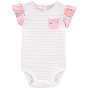 OshKosh B'gosh Infant Girls Striped Ruffle Sleeve Bodysuit
