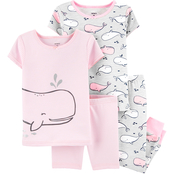 Carter's Infant Girls 4 pc. Whale Snug Fit Cotton Pajamas