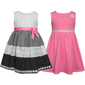 Blueberi Boulevard Little Girls Checker and Daisy Dress Set