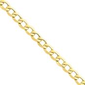 14K Yellow Gold 7.0mm Semi Solid Curb Link Chain Bracelet