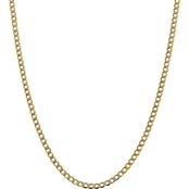 14K Yellow Gold 4.3mm Semi Solid Pave Curb Chain