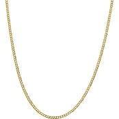 14K Yellow Gold 3.1mm Solid Polished Light Flat Cuban Chain