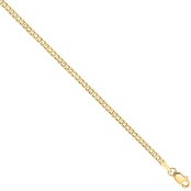 14K Yellow Gold 2.2mm Beveled Curb Chain Bracelet