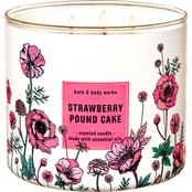 Bath & Body Works Beyond Garden Wall 3 Wick Candle, Strawberry Pound Cake