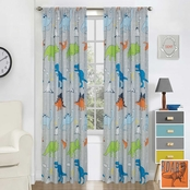Royale Linens Dino Walk Window Panel Pair 48 in. x 84 in.