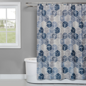 Saturday Knight LTD Cubes Fabric Shower Curtain in Blue