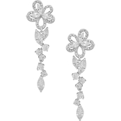 Anne Klein Silvertone Crystal Flower Linear Earrings