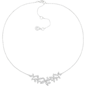 Anne Klein Silvertone Crystal Navette Petal Frontal Necklace