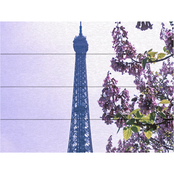 Trademark Fine Art Kathy Yates 'Eiffel Tower with Blossoms' Wood Slat Art