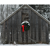 Trademark Fine Art Kurt Shaffer Christmas Barn in the Snow Wood Slat Art