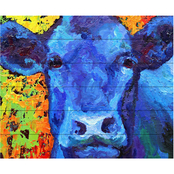 Trademark Fine Art Marion Rose 'Blue Cow' Wood Slat Art