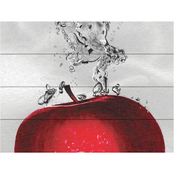 Trademark Fine Art Roderick Stevens Red Apple Splash Wood Slat Art 16 x 12