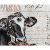 Trademark Fine Art Jennifer Redstreake Dans la Ferme Cow Wood Slat Art
