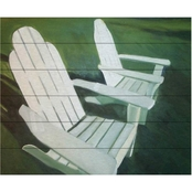 Trademark Fine Art Rickey Lewis 'Lawn Chairs' Wood Slat Art